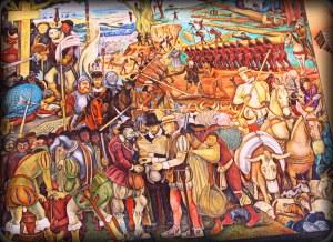 Desembarco de Hernán Cortes. Los conquistadores arrebatan todos los animales al pueblo azteca y lo esclavizan